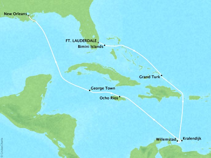 Cruises Crystal Symphony Map Detail Miami, FL, United States to New Orleans, LA, United States December 2-15 2018 - 13 Days