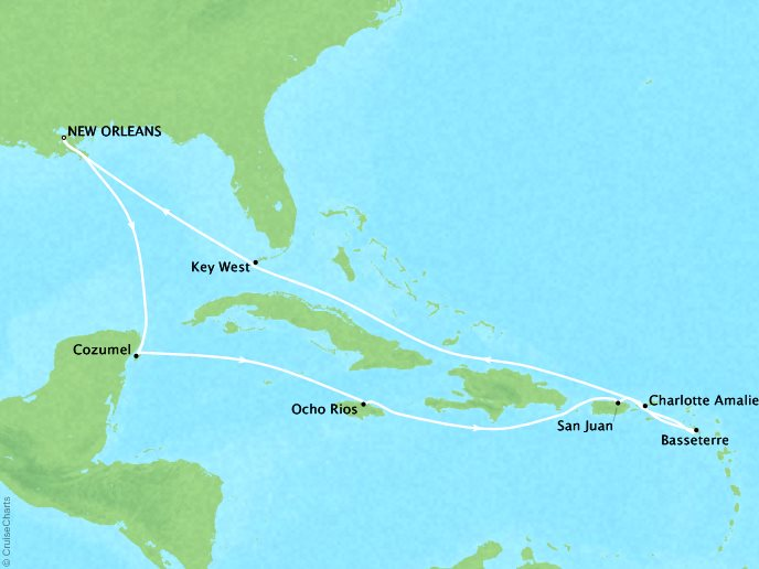 Cruises Crystal Symphony Map Detail New Orleans, LA, United States to New Orleans, LA, United States December 22 2018 January 5 2019 - 14 Days