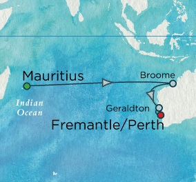 Crystal Symphony January 22 February 5 2018 Port Louis, Mauritius to ENemantle, Australia