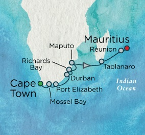 Crystal Luxury Cruises Symphony January 7-22 2018 Cape Town, South Africa to Port Louis, Mauritius