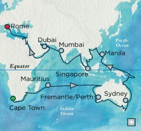 Crystal Luxury Cruises Symphony January 7 May 16 2018 Cape Town, South Africa to Rome (Civitavecchia), Italy