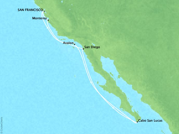 Cruises Crystal Symphony Map Detail Francisco, CA, United States to San Francisco, CA, United States July 31 August 10 2018 - 10 Days