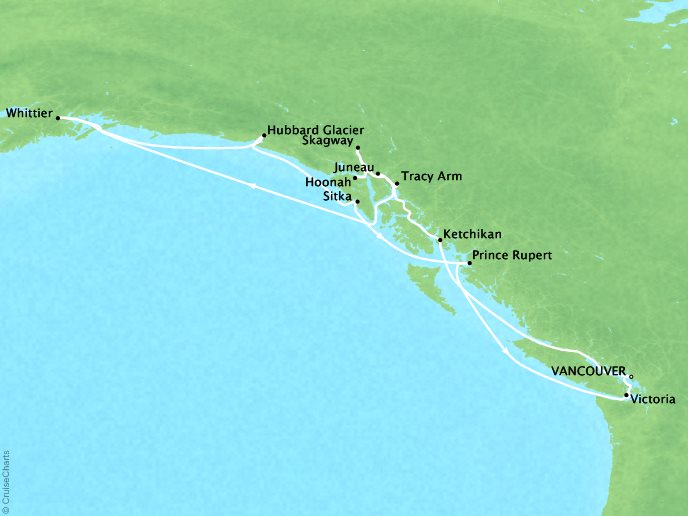THE BEST Cruises Crystal Symphony Map Detail Vancouver, Canada to Vancouver, Canada June 24 July 8 2018 - 14 Days