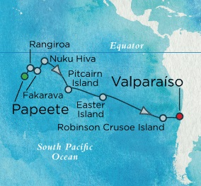 Crystal Luxury Cruises Symphony March 18 April 6 2018 Papeete, French Polynesia to Valparaíso, Chile