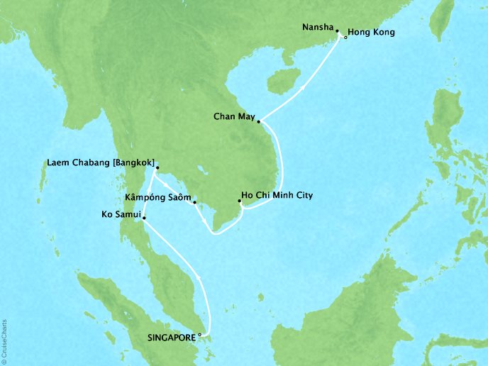 CRYSTAL LUXURY cruises Symphony Map Detail Singapore, Singapore to Hong Kong, China April 26 May 9 2019 - 13 Days