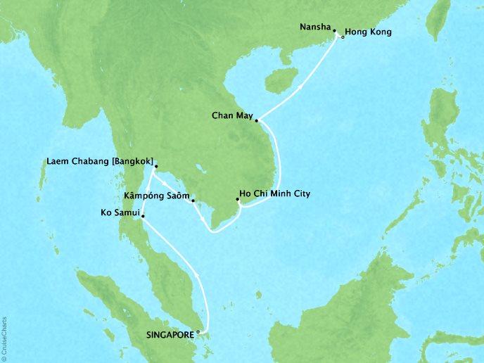 Crystal Luxury Cruises Cruises Crystal Symphony Map Detail Singapore, Singapore to Hong Kong, China April 26 May 9 2019 - 13 Days