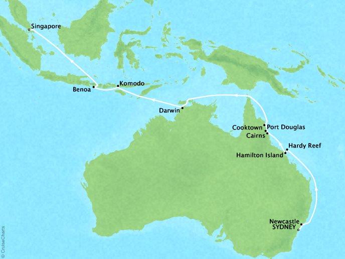 Crystal Luxury Cruises Cruises Crystal Symphony Map Detail Sydney, Australia to Singapore, Singapore April 8-26 2019 - 18 Days
