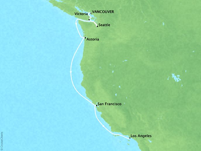 Cruises Crystal Symphony Map Detail Vancouver, Canada to Los Angeles, CA, United States August 20-30 2019 - 10 Days