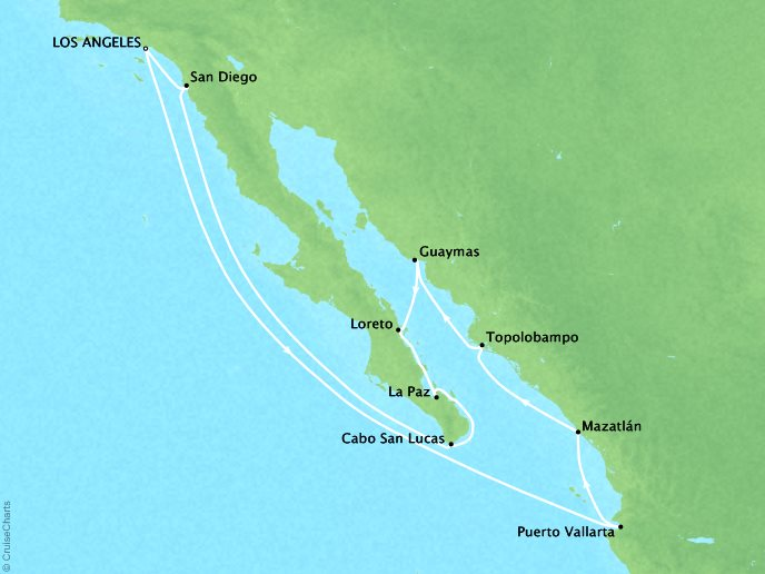 CRYSTAL LUXURY cruises Symphony Map Detail Los Angeles, CA, United States to Los Angeles, CA, United States August 30 September 14 2019 - 14 Days