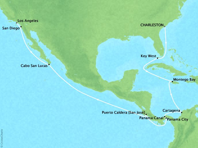 CRYSTAL LUXURY cruises Symphony Map Detail Charleston, SC, United States to Los Angeles, CA, United States December 1-20 2019 - 19 Days