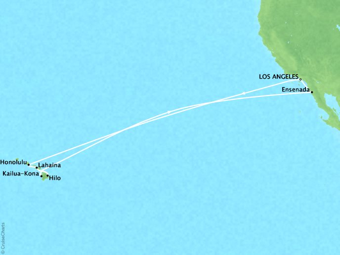 CRYSTAL LUXURY cruises Symphony Map Detail Los Angeles, CA, United States to Los Angeles, CA, United States December 20 2019 January 5 2020 - 20 Days