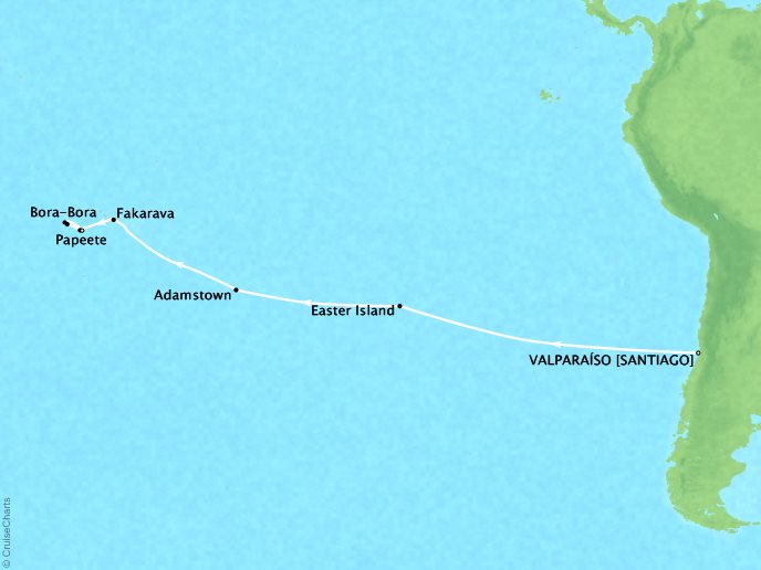 Cruises Crystal Symphony Map Detail Valparaíso, Chile to Papeete, ENench Polynesia February 19 March 7 2019 - 16 Days