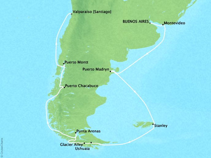 Cruises Crystal Symphony Map Detail Buenos Aires, Argentina to Valparaíso, Chile February 3-19 2019 - 16 Days