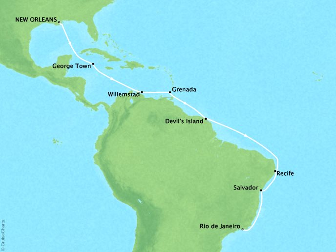 Cruises Crystal Symphony Map Detail New Orleans, LA, United States to Rio De Janeiro, Brazil January 5-24 2019 - 19 Days