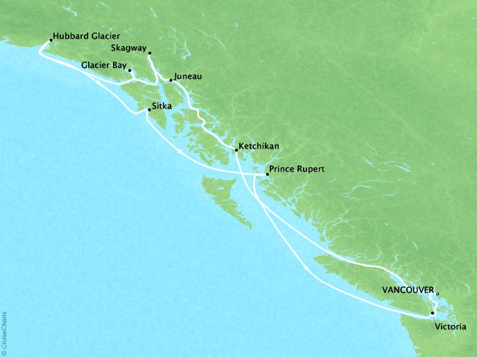 Cruises Crystal Symphony Map Detail Vancouver, Canada to Vancouver, Canada July 30 August 10 2019 - 11 Days