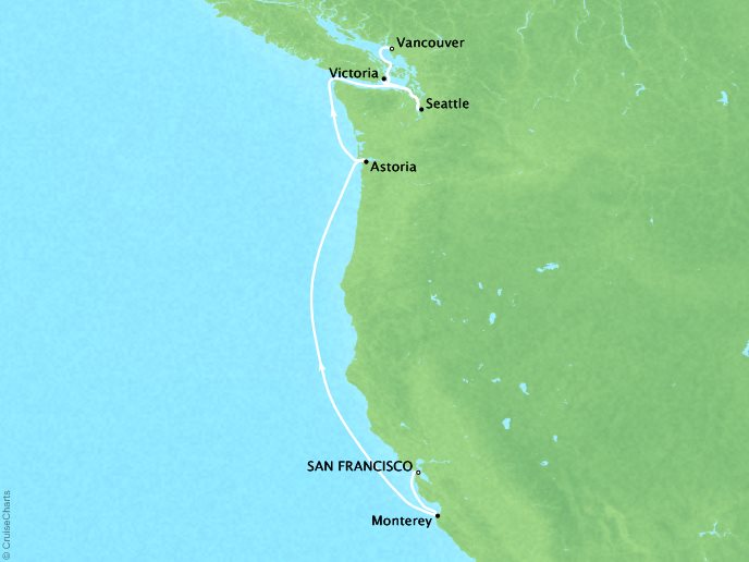 Cruises Crystal Symphony Map Detail San ENancisco, CA, United States to Vancouver, Canada June 17-25 2019 - 8 Days