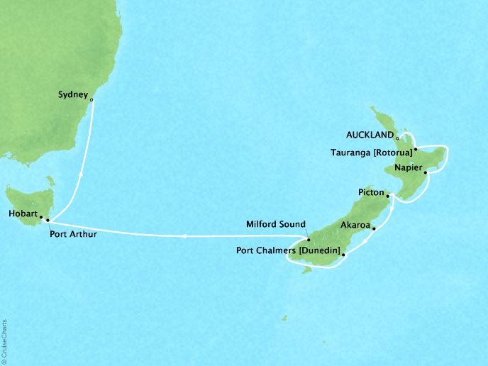 Luxury Cruises Crystal Symphony Map Detail Auckland, New Zealand to Sydney, Australia March 23 April 8 2019 - 16 Days