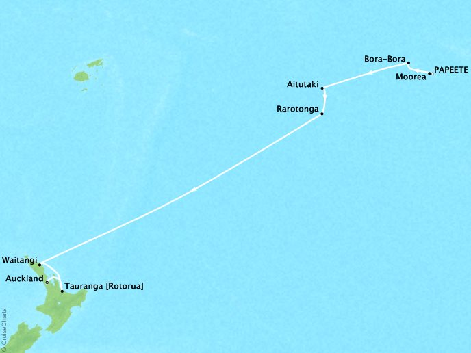 Crystal Luxury Cruises Cruises Crystal Symphony Map Detail Papeete, French Polynesia to Auckland, New Zealand March 7-23 2019 - 16 Days
