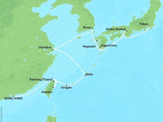 THE BEST Cruises Crystal Symphony Map Detail Hong Kong, China to Tokyo, Japan May 9-26 2019 - 16 Days