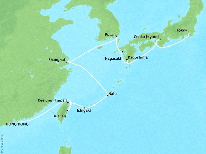 Crystal Luxury Cruises Cruises Crystal Symphony Map Detail Hong Kong, China to Tokyo, Japan May 9-26 2019 - 16 Days