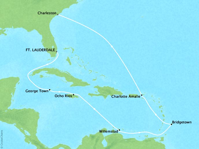 Cruises Crystal Symphony Map Detail Fort Lauderdale, FL, United States to Charleston, SC, United States November 17 December 1 2019 - 14 Days