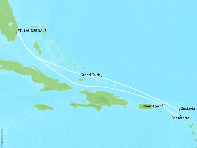 Cruises Crystal Symphony Map Detail Fort Lauderdale, FL, United States to Fort Lauderdale, FL, United States November 8-17 2019 - 9 Days