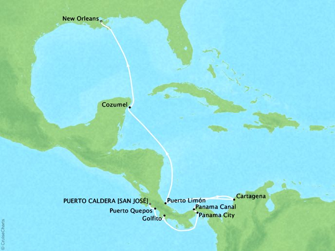 Cruises Crystal Symphony Map Detail Puerto Caldera, Costa Rica to New Orleans, LA, United States October 11-25 2019 - 14 Days