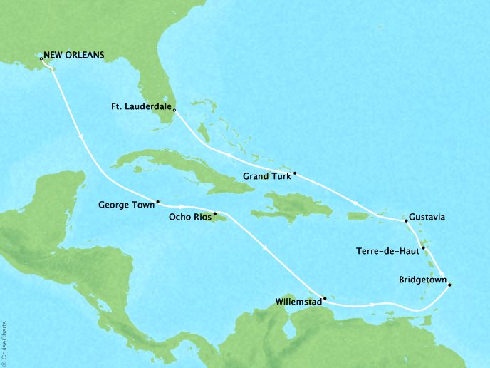Cruises Crystal Symphony Map Detail New Orleans, LA, United States to Fort Lauderdale, FL, United States October 25 November 8 2019 - 14 Days