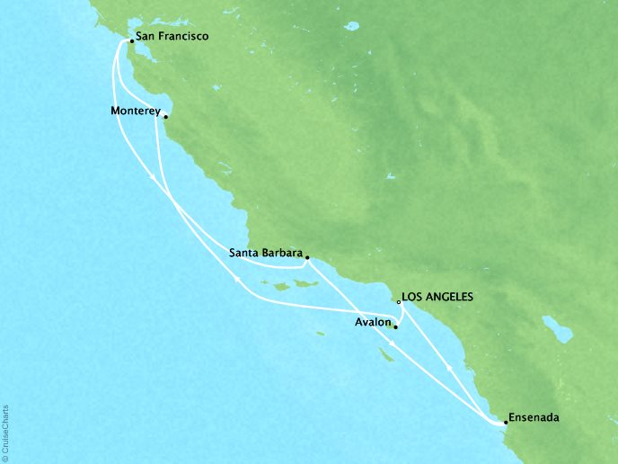 Cruises Crystal Symphony Map Detail Los Angeles, CA, United States to Los Angeles, CA, United States September 14-21 2019 - 7 Days