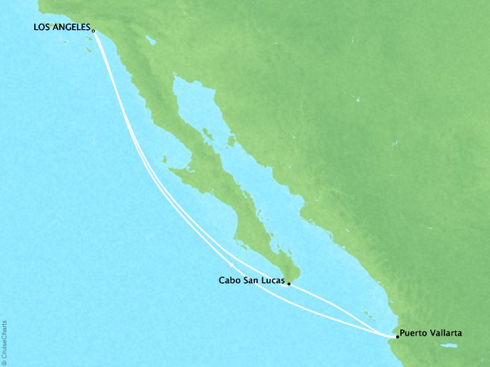 Cruises Crystal Symphony Map Detail Los Angeles, CA, United States to Los Angeles, CA, United States September 21-28 2019 - 7 Days
