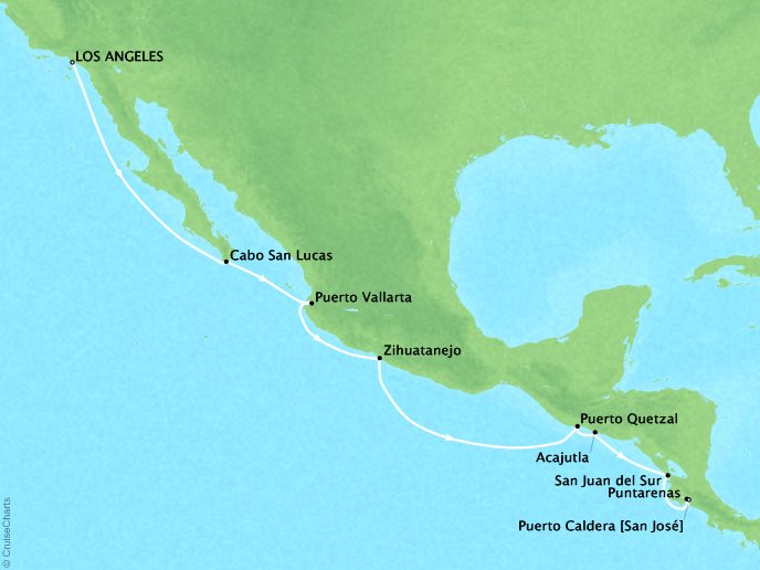 Crystal Luxury Cruises Cruises Crystal Symphony Map Detail Los Angeles, CA, United States to Puerto Caldera, Costa Rica September 28 October 11 2019 - 13 Days