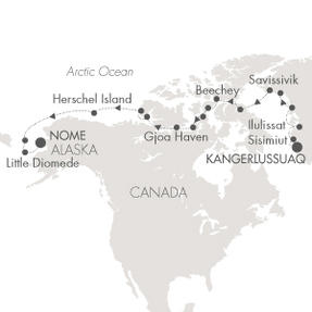 World CRUISE SHIP BIDS L Austral August 16 September 7 2023 Kangerlussuaq, Greenland to Nome, AK, United States