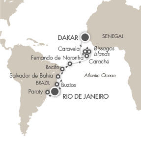 World CRUISE SHIP BIDS L Austral March 7-24 2023 Rio De Janeiro, Brazil to Dakar, Senegal