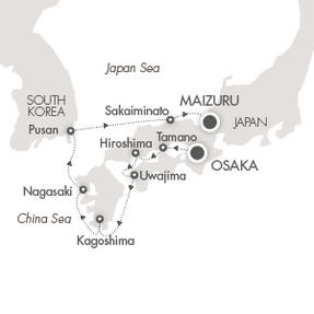 LUXURY CRUISE - Balconies-Suites Cruises L'Austral April 17-25 2020 Osaka, Japan to Maizuru, Japan