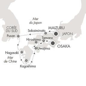 LUXURY CRUISE - Balconies-Suites Cruises L'Austral April 25 May 3 2020 Maizuru, Japan to Osaka, Japan