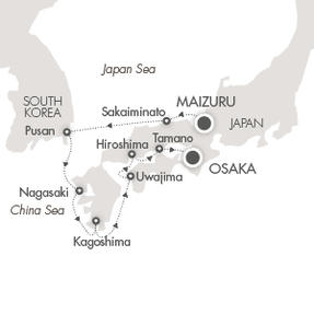 Singles Cruise - Balconies-Suites Cruises L'Austral April 9-17 2020 Maizuru, Japan to Osaka, Japan