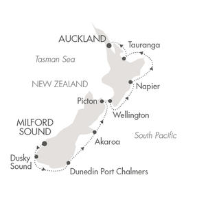 Singles Cruise - Balconies-Suites Cruises L'Austral January 22-31 2020 Milford Sound, New Zealand to Auckland, New Zealand