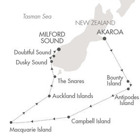 Single-Solo Balconies-Suites CRUISE L'Austral January 7-22 2022 Akaroa, New Zealand to Milford Sound, New Zealand