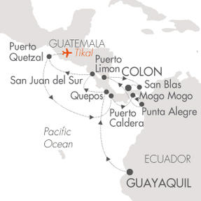 LUXURY WORLD CRUISES - Penthouse, Veranda, Balconies, Windows and Suites Cruises Le Boreal March 23 April 7 2019 Guayaquil, Ecuador to Colon, Panama
