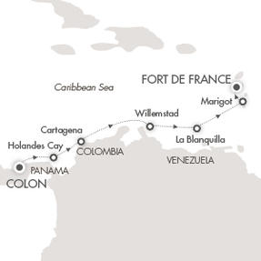 Singles Cruise - Balconies-Suites Cruises Le Boreal April 12-19 2020 Colón, Panama to Fort-de-France, Martinique
