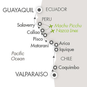 LUXURY CRUISE - Balconies-Suites Cruises Le Boreal March 18-30 2020 Valparaíso, Chile to Guayaquil, Ecuador