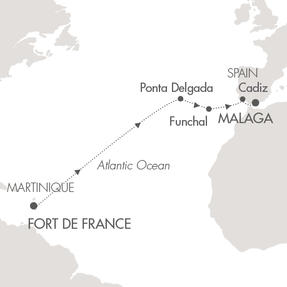 LUXURY CRUISE - Balconies-Suites Cruises Le Lyrial April 2-15 2019 Fort-de-France, Martinique to Malaga, Spain