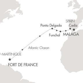 SINGLE Cruise - Balconies-Suites Cruises Le Lyrial April 2-15 2019 Fort-de-France, Martinique to Malaga, Spain