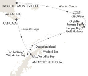 LUXURY CRUISE - Balconies-Suites Cruises Le Lyrial February 23 March 9 2019 Ushuaia, Argentina to Montevideo, Uruguay
