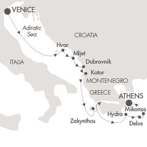 Singles Cruise - Balconies-Suites Cruises Le Lyrial July 12-19 2019 Venice, Italy to Piraeus, Greece