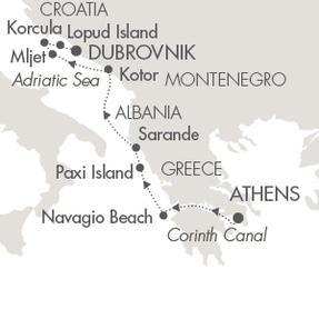Singles Cruise - Balconies-Suites Cruises Le Lyrial July 26 August 2 2019 Piraeus, Greece to Dubrovnik, Croatia