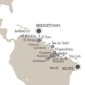 LUXURY CRUISE - Balconies-Suites Cruises Le Lyrial March 16 April 2 2019 Recife, Brazil to Bridgetown, Barbados