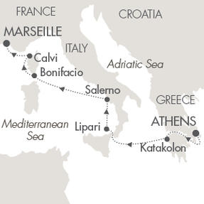 Singles Cruise - Balconies-Suites Cruises Le Lyrial October 18-25 2019 Piraeus, Greece to Marseille, France