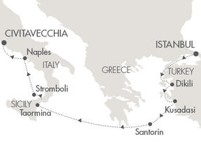 Singles Cruise - Balconies-Suites Cruises Le Lyrial October 4-11 2019 Istanbul, Turkey to Civitavecchia, Italy