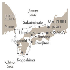 Single-Solo Balconies-Suites CRUISE Le Soleal April 6-14 2021 Osaka, Japan to Maizuru, Japan